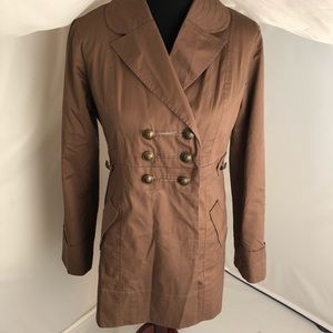 Jolt latte military style fitted trench coat L